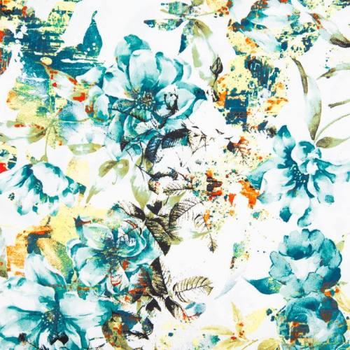 Satin de coton blanc imprimé fleur bleue et verte