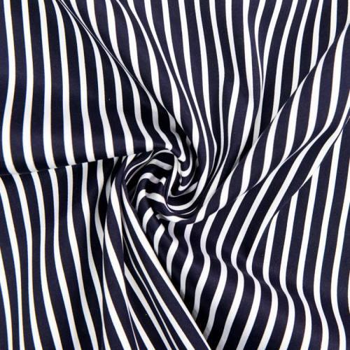 Satin de coton à rayure bleu marine