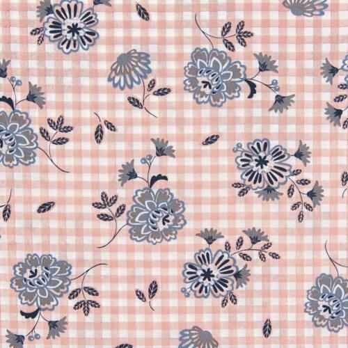 Popeline de coton carreaux rose à fleurs