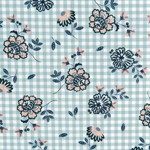 Popeline de coton carreaux vert à fleurs
