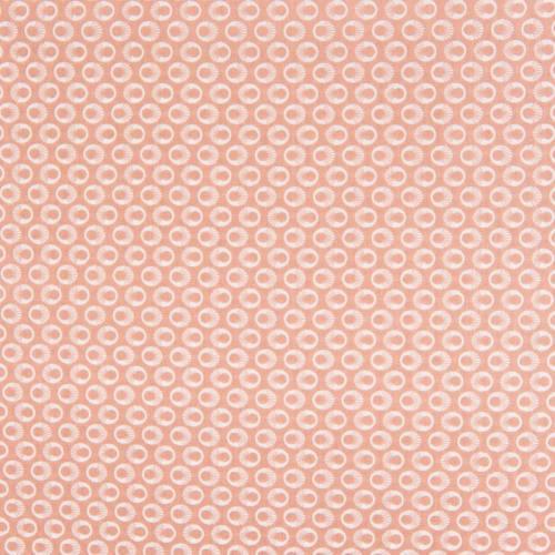 Popeline de coton saumon motif anneaux