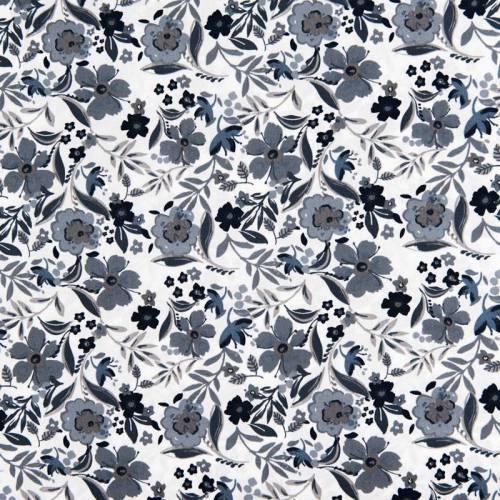 Popeline de coton blanche motif fleurs bleues