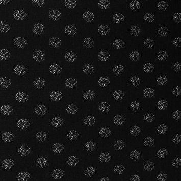 Tissu crêpe noir motif dot écru