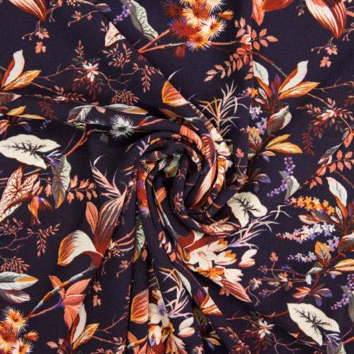 Tissu crêpe bleu marine motif fleur bohème