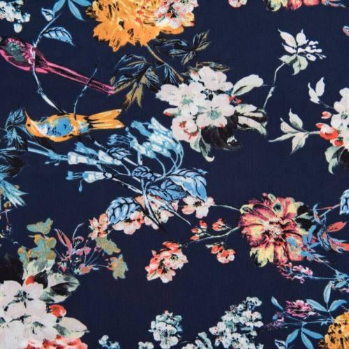 Tissu crêpe bleu marine motif fleur rose