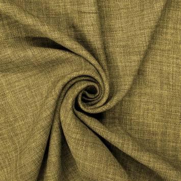 Tissu aspect lin vert olive