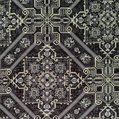 Satin gris imprimé square floral