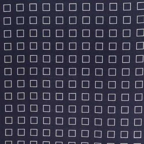 Mousseline crêpe bleu marine motif carré blanc