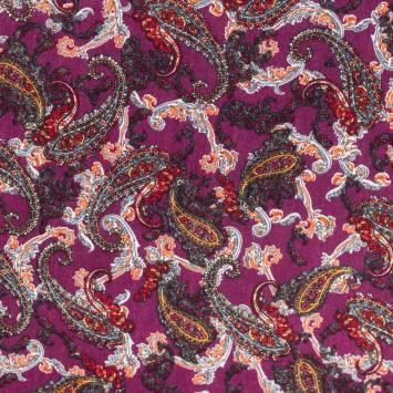 Tissu crêpe viscose violet motif cachemire rouge