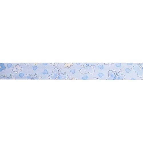Biais replié bleu motif papillons 25mm