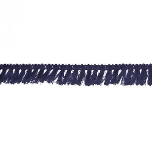 Galon à franges 27mm bleu foncé