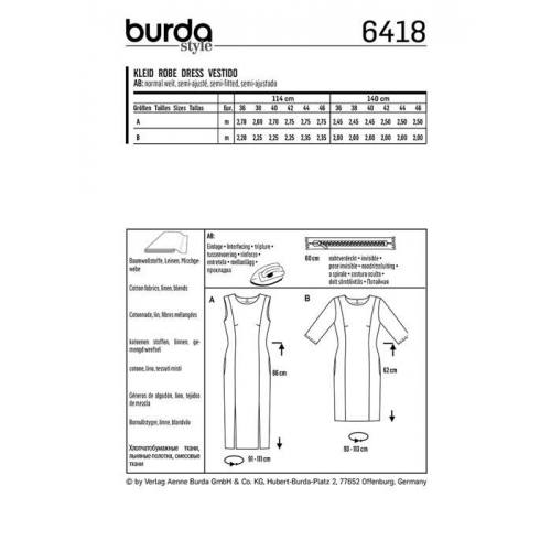 Patron Burda 6418 : Robe Taille 36-46