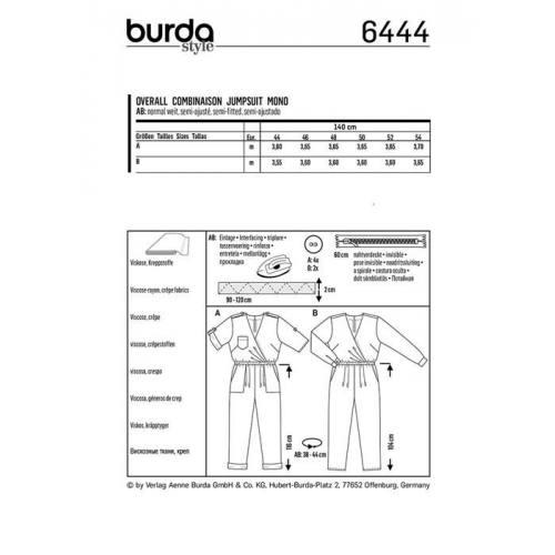 Patron Burda 6444 : Combinaison Taille 44-54