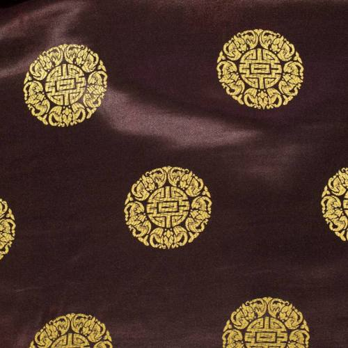 Satin asiatique marron motif rond doré
