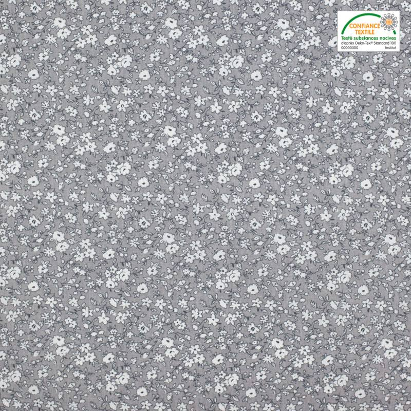 Coton gris petites fleurs blanche leonie Oeko-tex