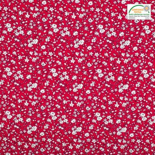 Coton rouge petites fleurs blanches leonie