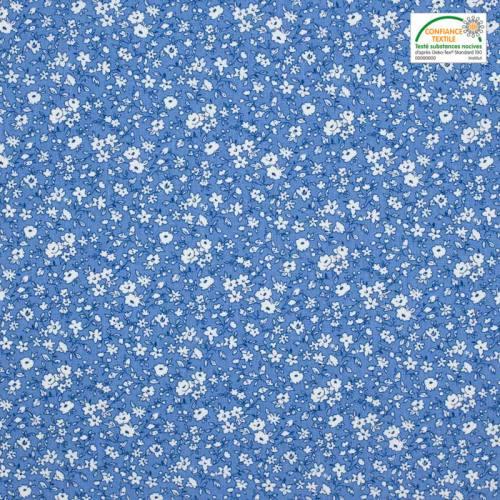 Coton bleu petites fleurs blanches leonie