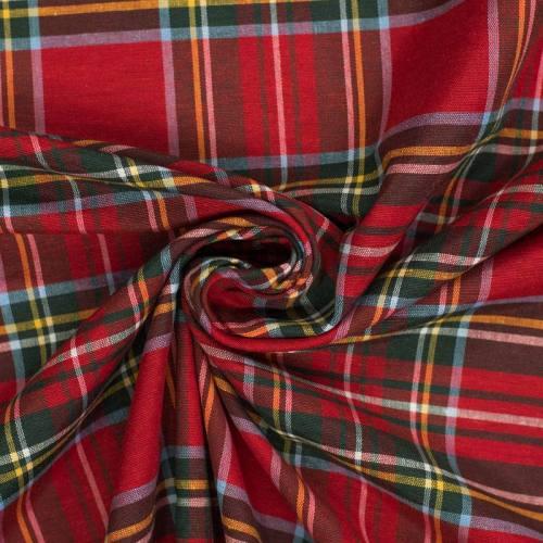 Tissu grande largeur tartan rouge