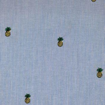 Coton rayé broderies ananas