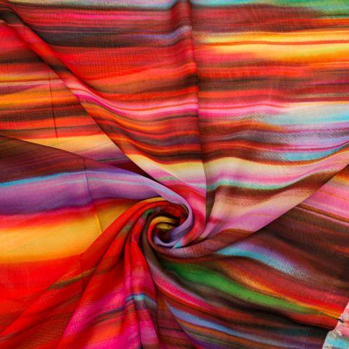 Mousseline multicolore motif red rainbow