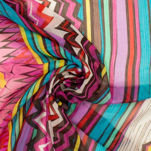 Mousseline motif african vibes rose