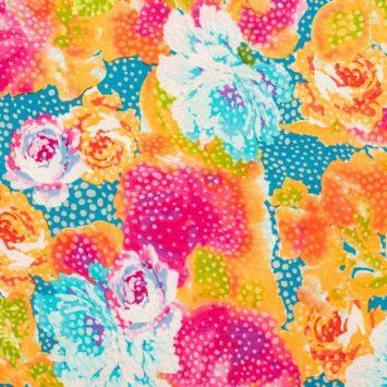 Microfibre stretch motif fleurs multicolores mouchetées