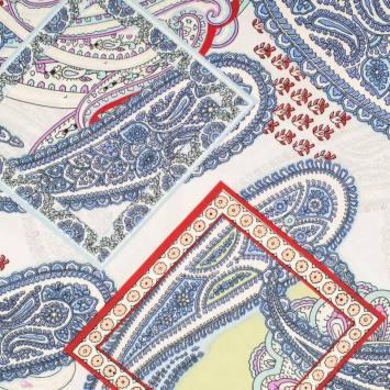 Microfibre imprimée cachemire bleu