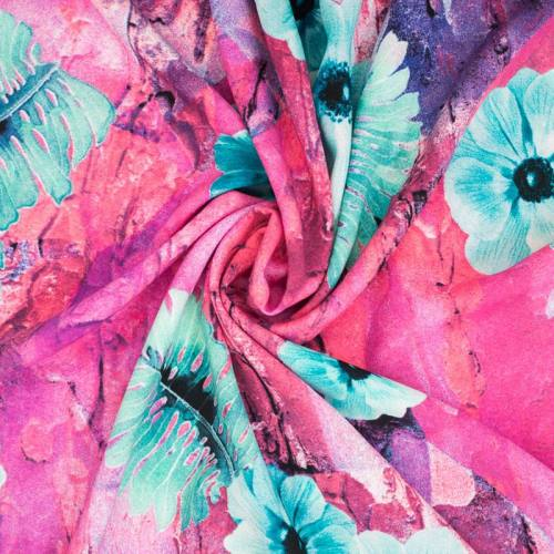 Mousseline crêpe stretch imprimée fleur bleue
