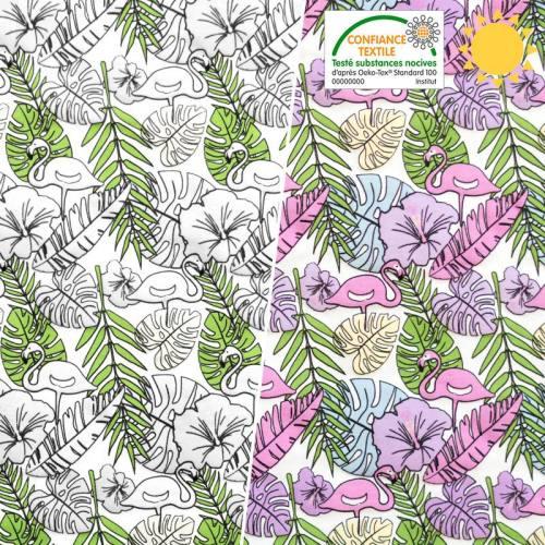 Jersey magique motifs feuilles et flamants roses