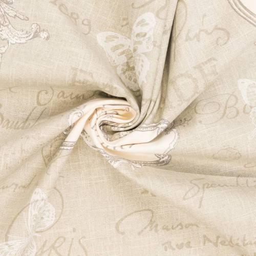 Coton bachette beige motif romantique 19 ème siècle grande largeur