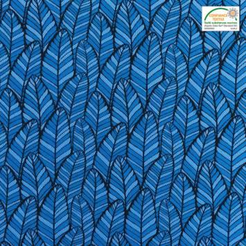 Jacquard bleu motif plume