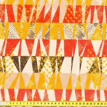 Wax - Tissu africain triangle orange et rouge 214