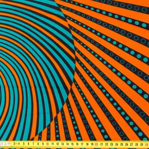 Wax - Tissu africain orange trait bleu canard 222