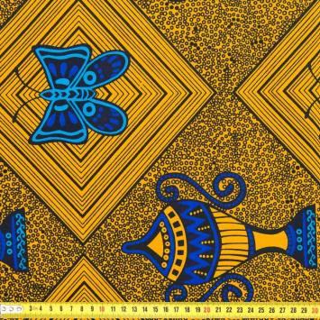 Wax - Tissu africain ocre papillon 218