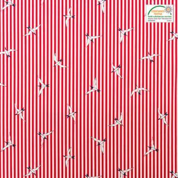 Popeline de coton rouge motif mouette et rayures