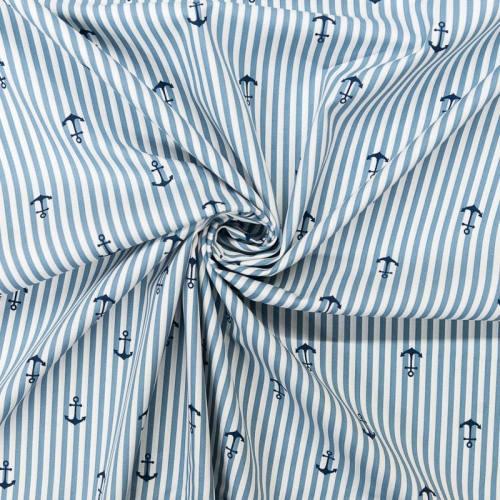 Popeline de coton bleue motif ancre et rayures