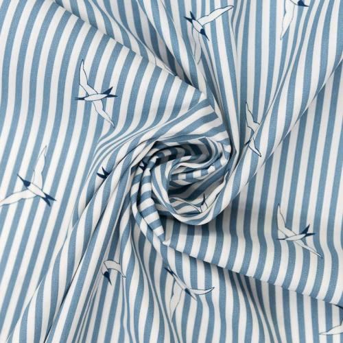 Popeline de coton bleue motif mouette et rayures