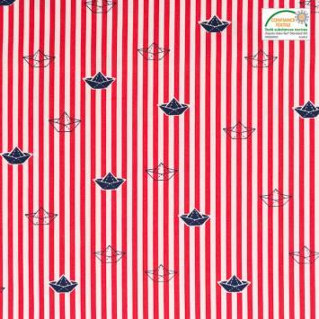 Popeline de coton rouge motif bateau en papier et rayures