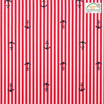 Popeline de coton rouge motif ancre et rayures