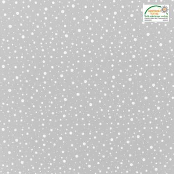 Popeline de coton gris clair motif rond blanc