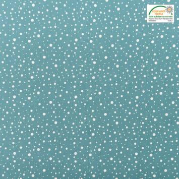 Popeline de coton bleu canard motif rond blanc
