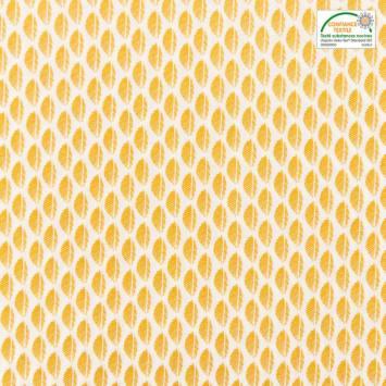 Popeline de coton blanche motif fougère ocre