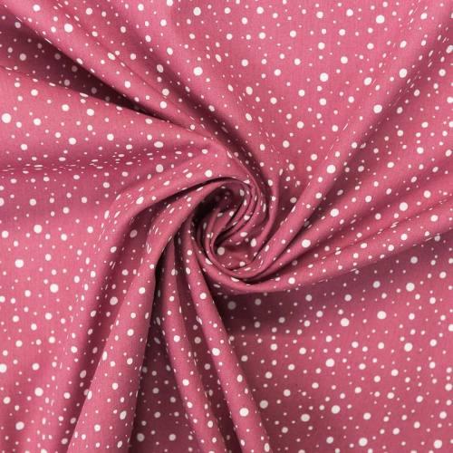 Popeline de coton vieux rose motif rond blanc