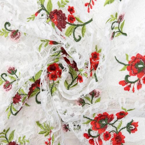 Dentelle blanche à fleurs rouges