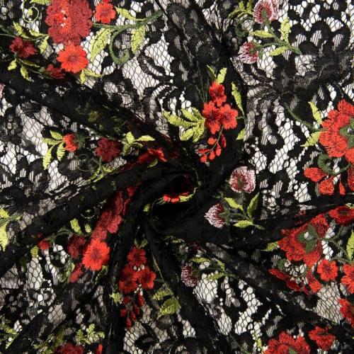 Dentelle noire à fleurs rouges
