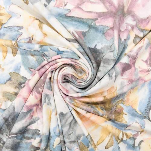 Tissu viscose pastel motif aquarelle de fleurs