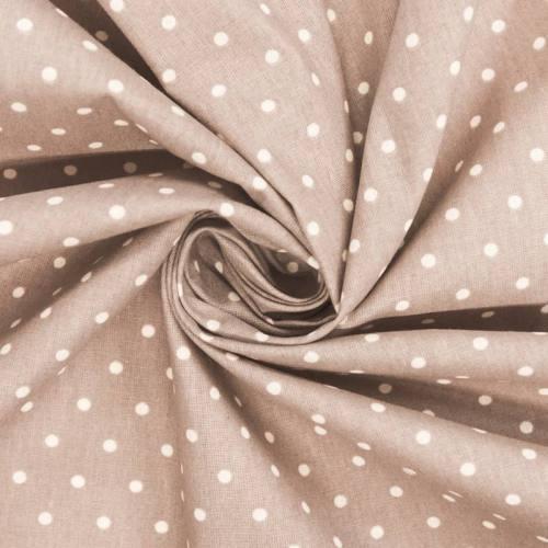 Coton cretonne grège pois blanc