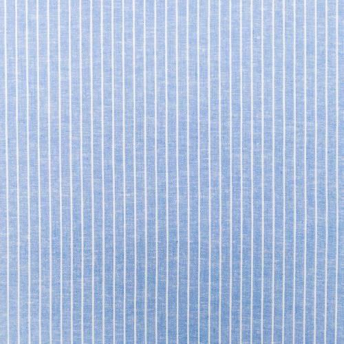 Lin viscose bleu à fines rayures écrues
