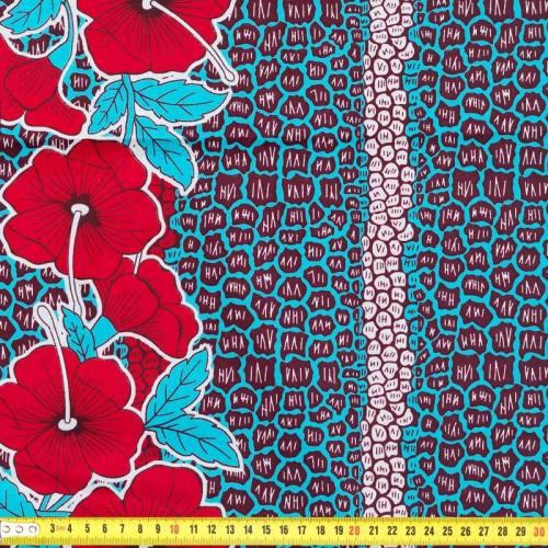 Wax - Tissu africain fleur bleu et rouge 236