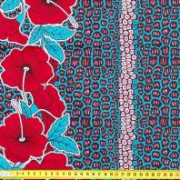 Wax Tissu Africain Fleur Bleu Et Rouge 236